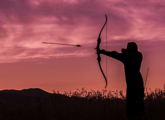 Hunter shooting recurve bow
