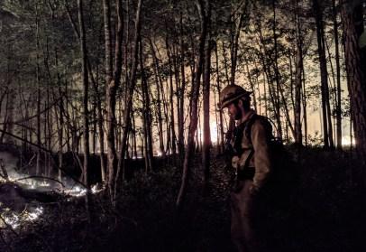 Ben Grunwald on night burn at the Orianne Indigo Snake Preserve_Marylou Moore_DNR