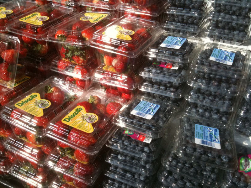 Strawberries & Blueberries at the Local Market Berries