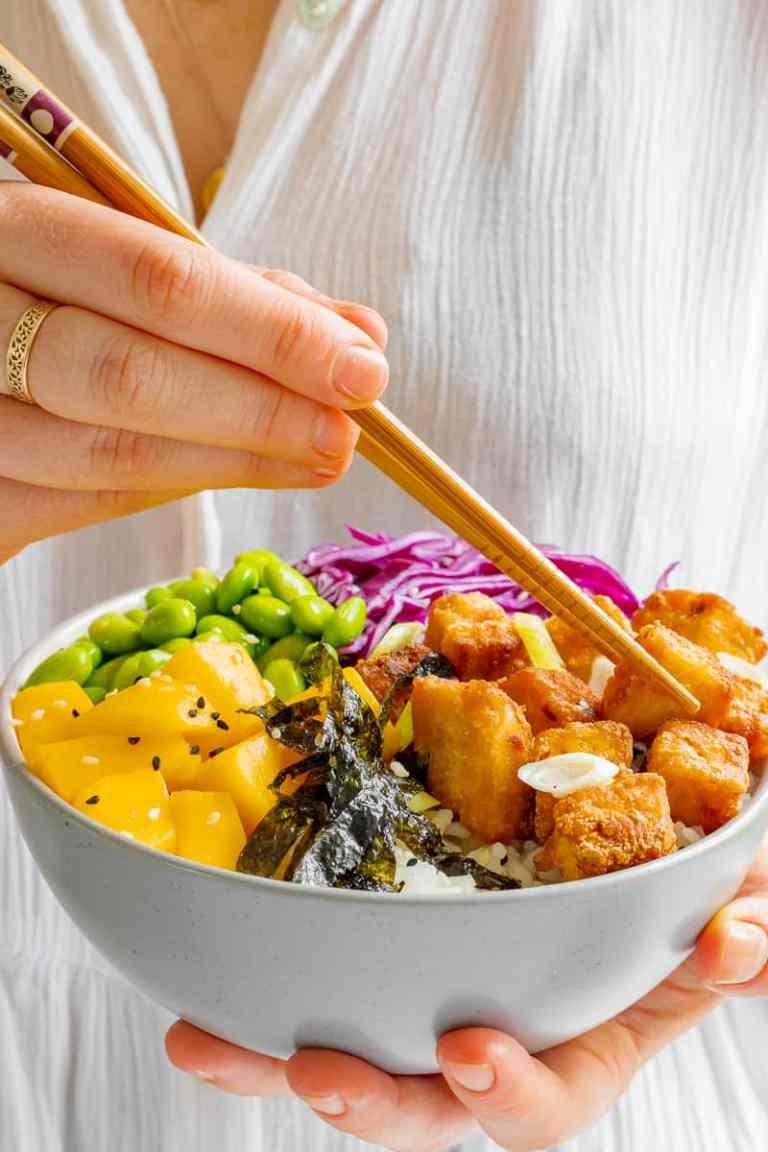 Crispy Ginger & Chilli Tofu and Mango Poke Bowls - Vegan, GF & Healthy! Georgie Eats.