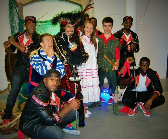 The cast of 'Peter Pan', Christmas 2014 Pantomime at Milton Keynes Theatre (photo by Georgina Butler)
