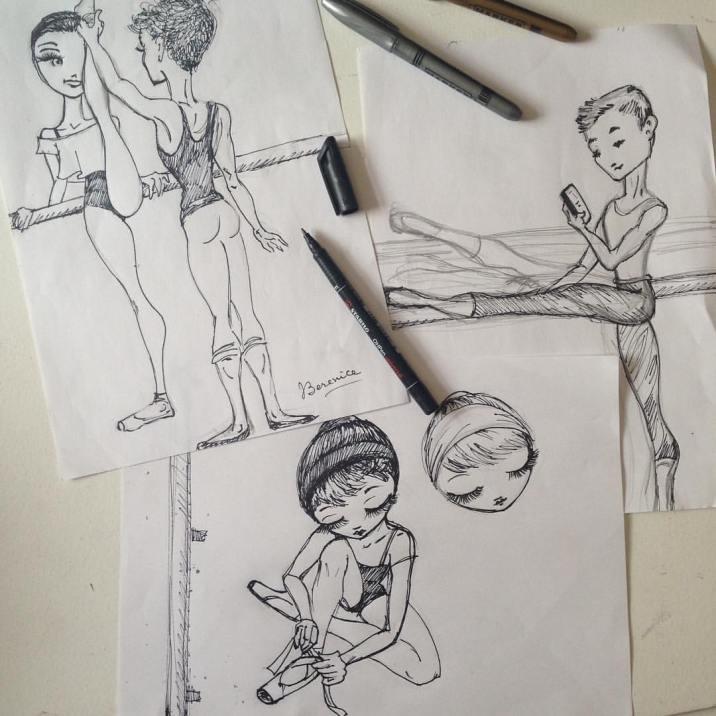 """Meet Me at the Barre"" sketch by Ballet Papier artist Berenice"
