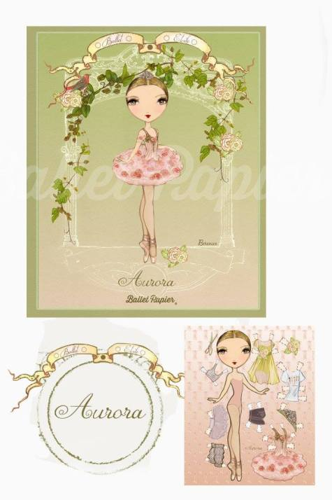 Ballet Papier - Ballet Étoiles paper dolls and notebooks - Aurora