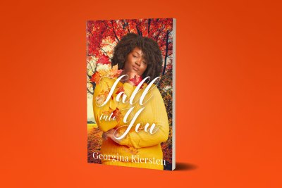 Book Cover Fall Into You by Georgina Kiersten Paperback, eBook, and Phone Mockups in front of a color background.