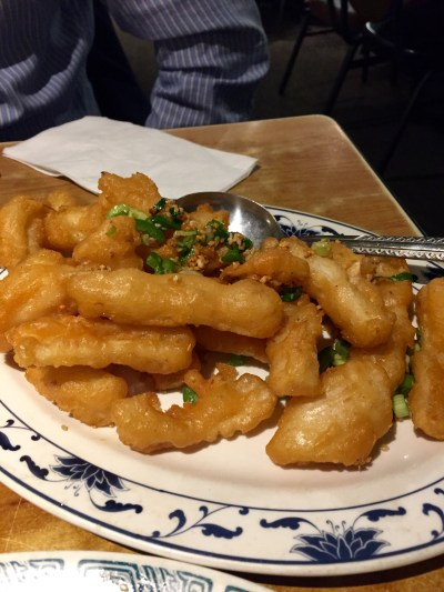 Walnut shrimp and salt & pepper calamari