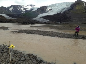 This is me measuring the area and velocity of my proglacial stream to work out the discharge. I had to go into the glacial waters 3 times a day with holes in my boots.