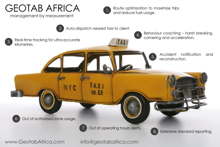 Key features of the GEOTAB comprehensive value added service for Metered Taxi Operators