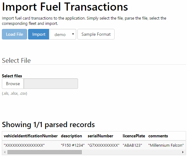 Import Fuel Transactions