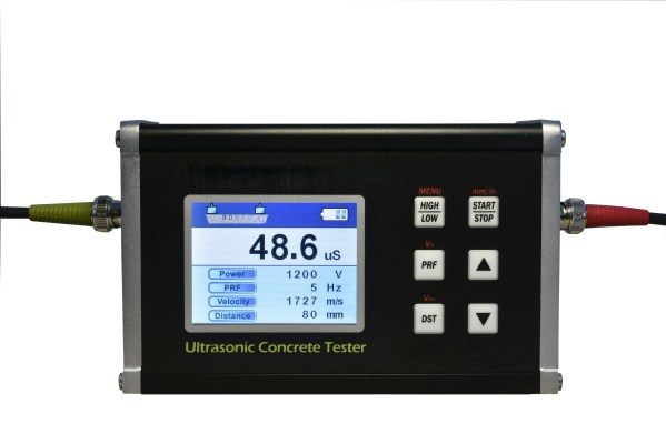 The ultrasonic pulse velocity applies high voltage and sends it to transit transducer to generate ultrasonic wave.