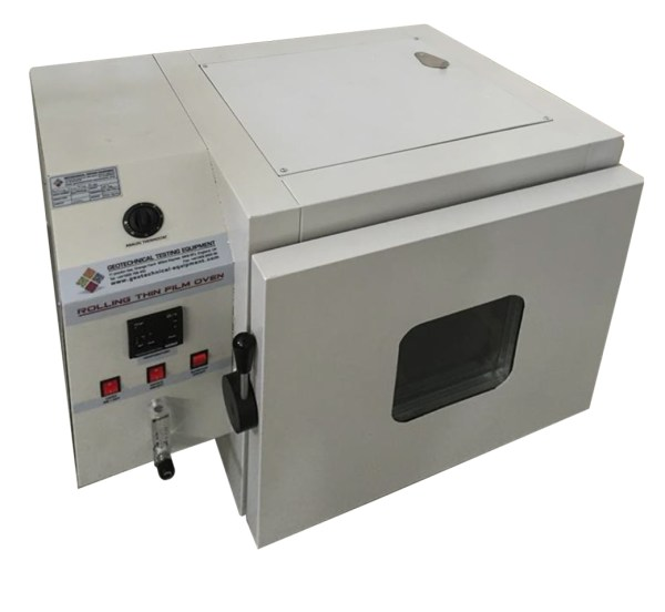 The Rolling Thin Film Oven provides simulated short term aged asphalt binder for physical property testing.