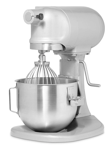 The Laboratory mixer is a planetary beater type, where the flat beaters rotate in the opposite direction to the orbit around the inside of the mixing bowl.