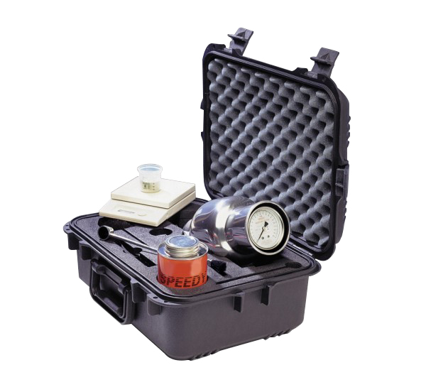 The Speedy Moisture Tester is a portable system comprising a vessel with an integral pressure gauge a weighing scale and carry case.