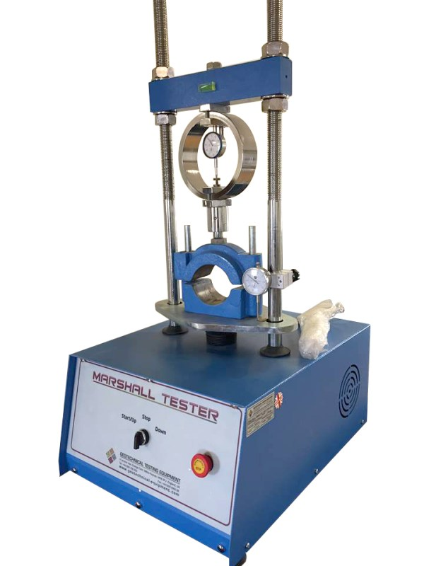 The Marshall Stability Machine is used to determine the load and flow values of bituminous mixtures.