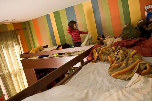 Adjoining double bunk loft beds custom made