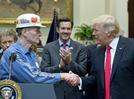 Image result for president trump with coal miners