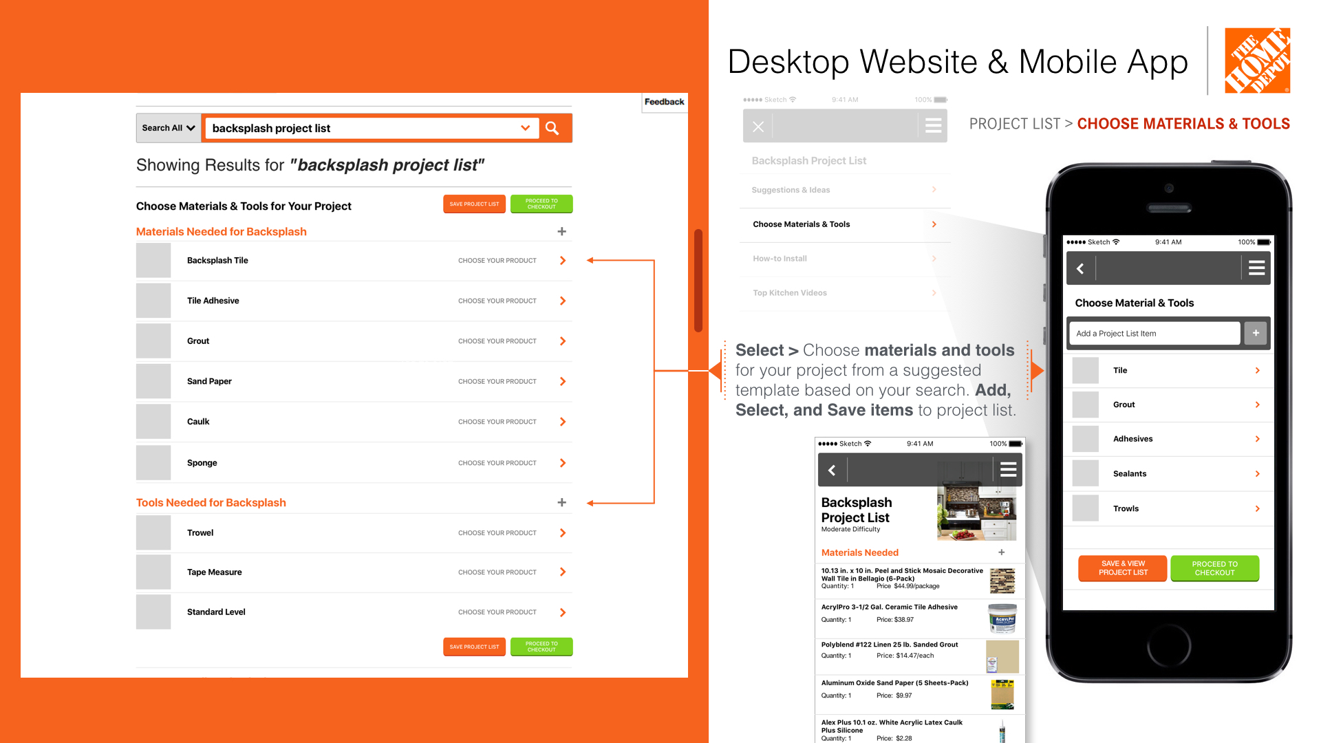 Home Depot U2013 Project List/Search Feature