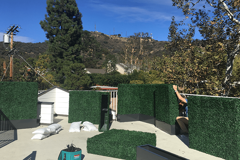 artificial boxwood hedge installation