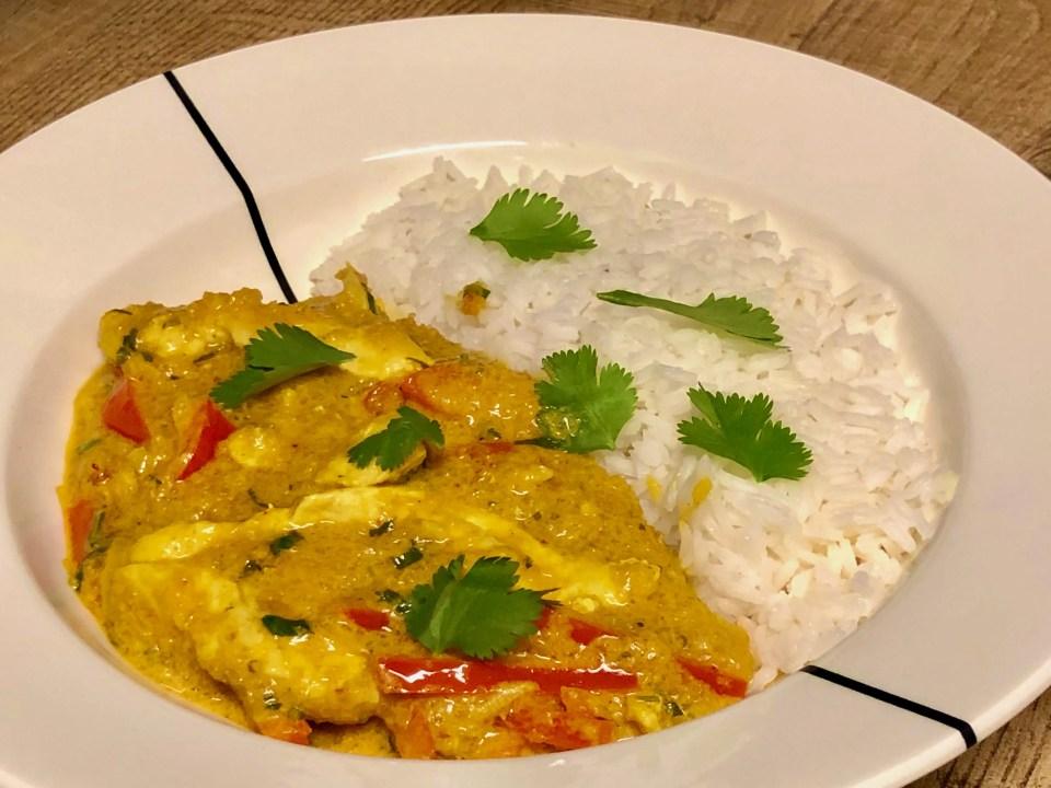 eenvoudige Thaise pompoencurry met kip