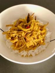 verrukkelijke vegetarische bananenschil curry