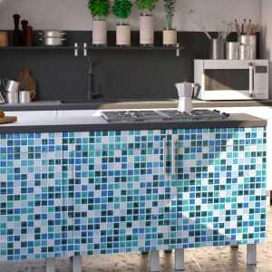 Stickers voor op meubels mozaïek blauwe tegels