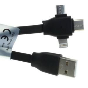 USB kabel 3in1 - Apple Lightning / microUSB / USB-C in één - zwart - 1 meter