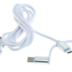 USB 3in1 kabel - Apple Lightning, microUSB en USB-C op 1 kabel - Nylon - 1 meter - Wit