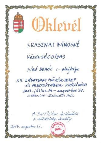 művésztelep közönségdíj 2017