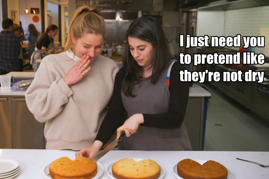 """Claire whispers to Molly, """"I just need you to pretend like the cakes aren't dry"""""""