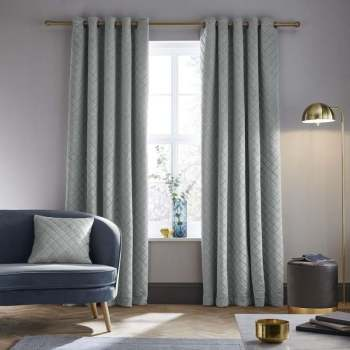 Catherine Lansfield So Soft Luxe Velvet Fully Lined Eyelet Curtains - Silver Grey 90x90