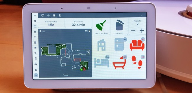 Example view of the custom dashboard. The current status and bin in time along with a live map are shown on the left. On the right, there are controls to start vacuuming, summon the vacuum to the bin and change the number of repeats. Below this, there are controls to change which rooms will be vacuumed. Each room the time since it was last cleaned. When a room is considered due for cleaning, the room is autoselected after the vacuum has been idle for some time. This makes it easy to start cleaning the overdue rooms quickly.