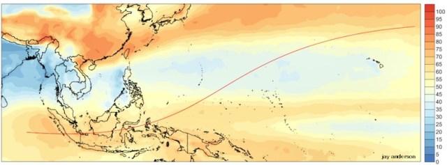 Tingkat cakupan awan di bulan Maret di Indonesia dan jalur gerhana. Courtesy: Jay Anderson
