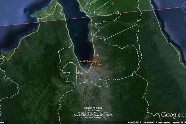 Jalur GMT 2016 yang melintasi Palu. Kredit: Xavier Jubier / Google Earth Pro