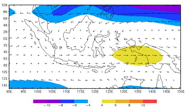Gambar 8. Klimatologis angin monsun pada ketinggian 850 mb (1980-2013) pada bulan Maret berdasarkan data reanalisis NCEP/NCAR.