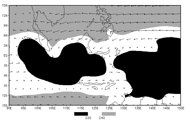 Gambar 9. Klimatologis OLR (1980-2013) pada Bulan Maret berdasarkan data reanalisis NCEP/NCAR.