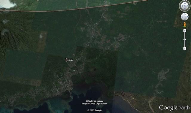 Jailolo, Halmahera Barat. Kredit: Google Earth Pro / Xavier Jubier
