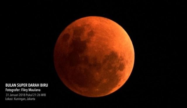 Gerhana Bulan Total. Kredit: Fikry Maulana