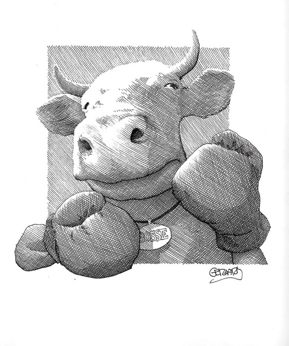 boxing cow