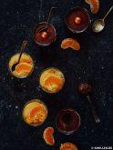 veganistische chocomousse met mandarijnsorbet van smollen