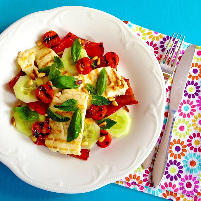 Grilled Halloumi Cheese Salad / Салата с Халуми на грил рецепта