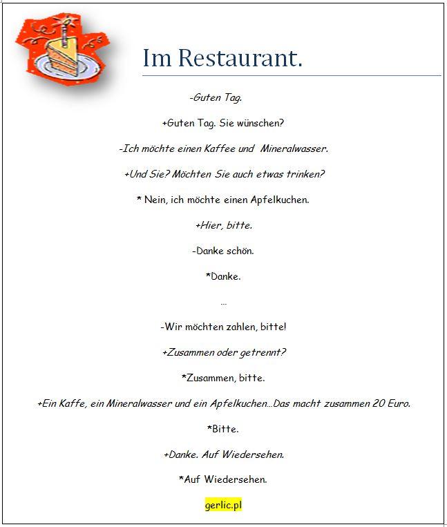 Lekcja 4 Zamawianie W Restauracji Im Restaurant Bestellen Aki