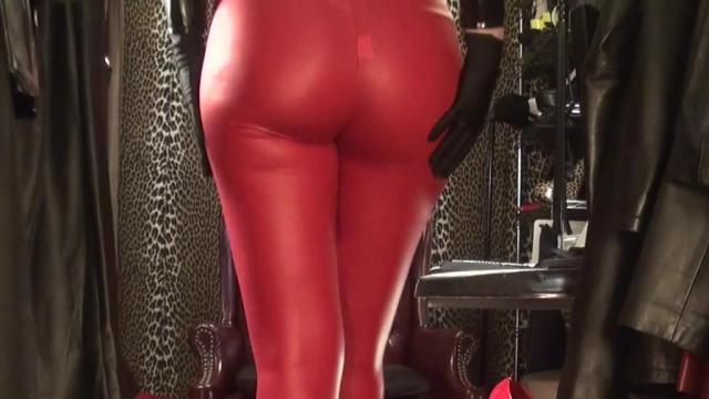 pornos 1687114 - Heisse rote Leggings und Lackjacke - Strumpfhose, nylons, leggings, Lack, High Heels, Fetisch, FemDom, Beine, ass worship, Arsch