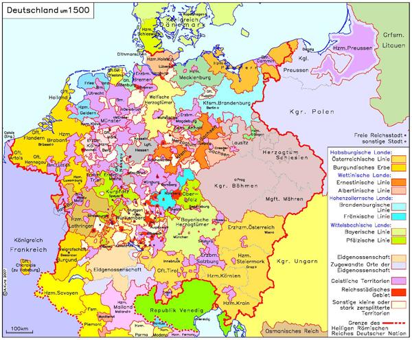 Deutschland mit Reichsstädten (um 1500)