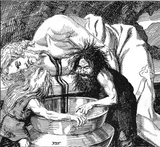 Black and white illustration of dwarves killing Kvasir and draining his blood to make the Mead of Inspiration (Image: Franz Stassen, 1920. Public domain)