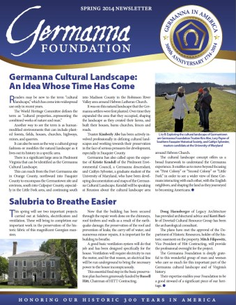 Spring 2014 Germanna Newsletter