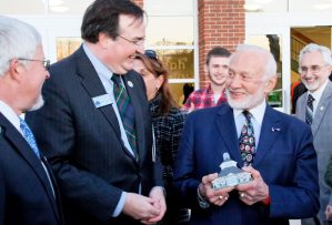Germanna Chief Operating Officer Steven Hein, Marc Wheat, Buzz Aldrin and behind him, Germanna Community College President Dr.David A. Sam.