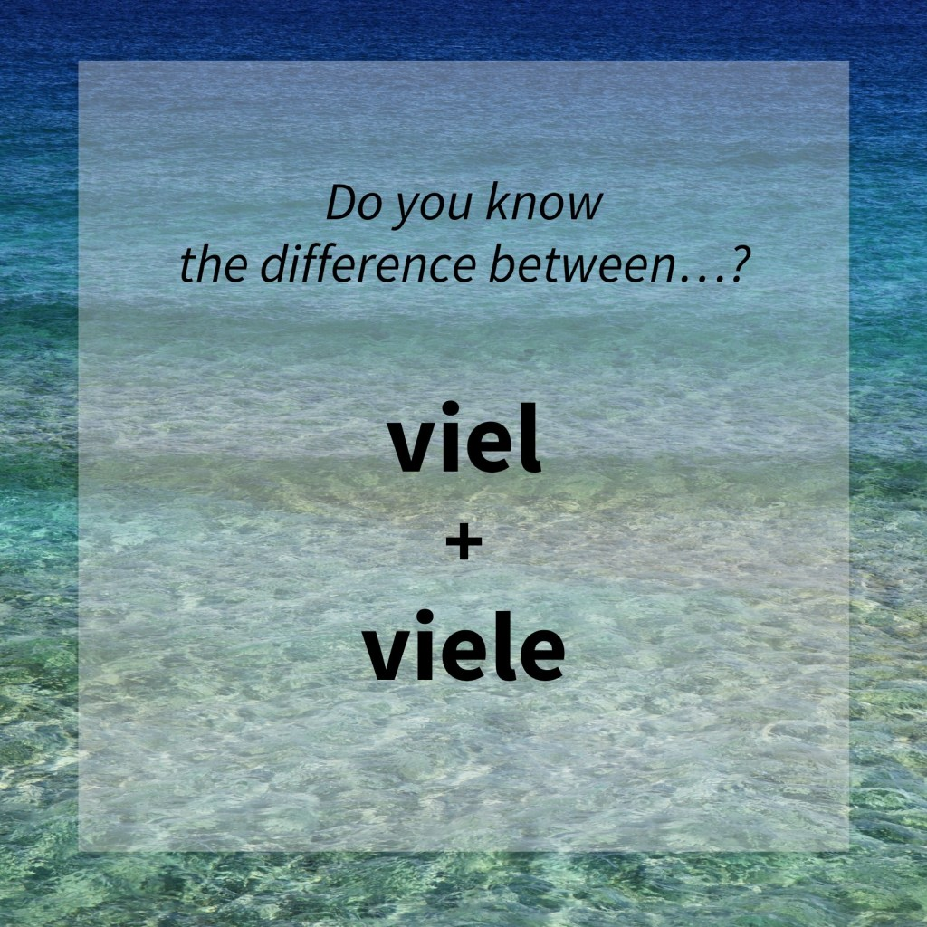 Image asking whether you know the difference between the German words 'viel' and 'viele'. (common mistakes)