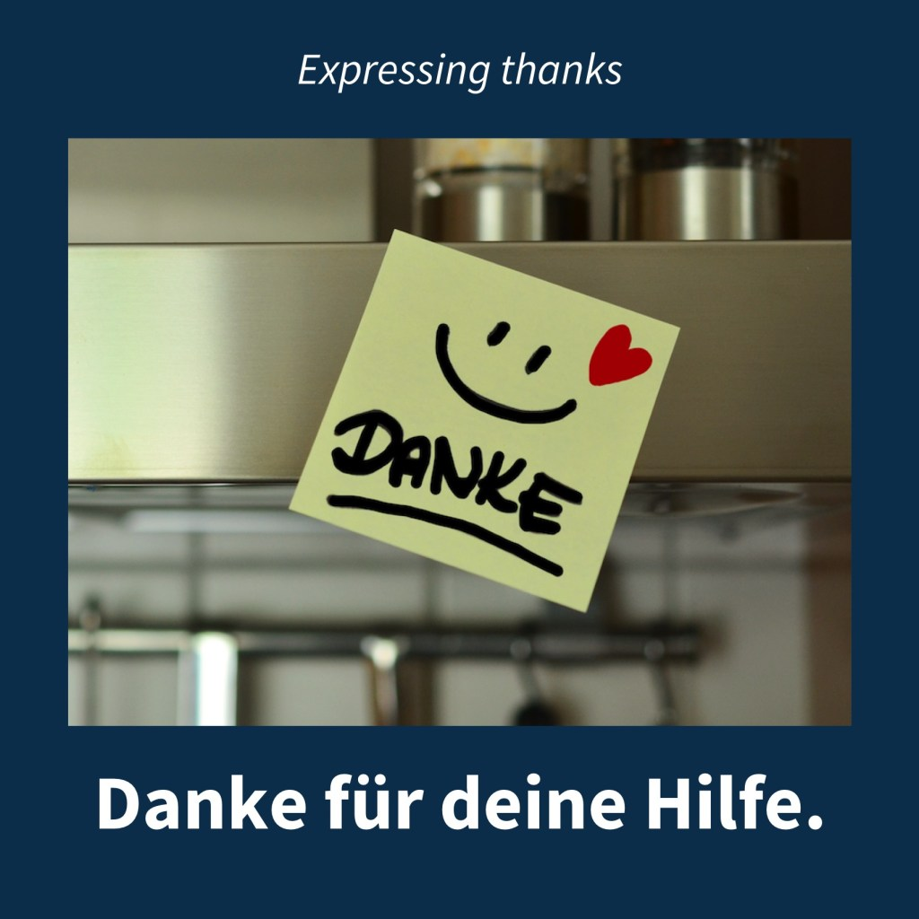 "Image showing a post-it note saying ""Danke"" with the caption in German: Danke für deine Hilfe."