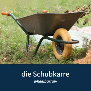 "Image of a wheelbarrow and the German word for it ""die Schubkarre"""