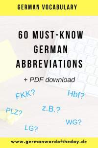 Common German abbbreviations, German shortenings