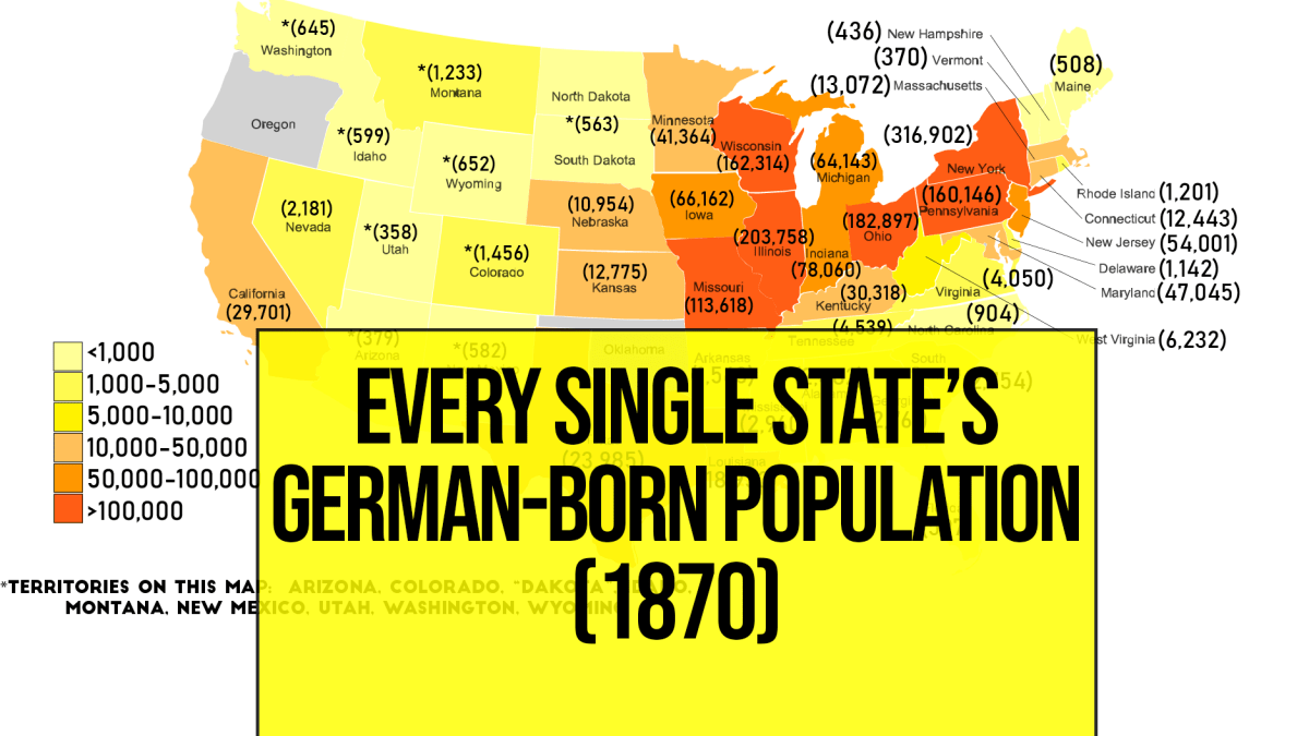 This map shows the German-born German population in the USA in 1870